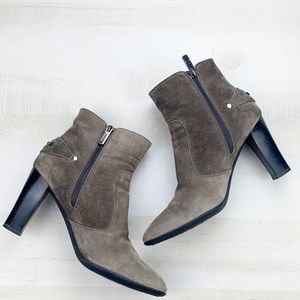 TODS Gray Suede Ankle Boot Heeled Side Zip
